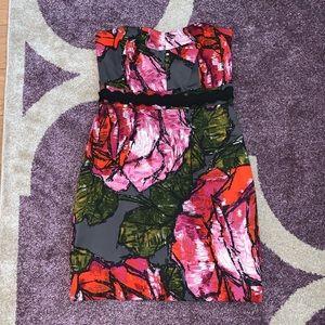 Trina Turk Strapless Floral Mini Dress